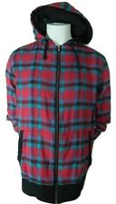 Mens Hot Topic Chor Multi Color Plaid Full Zip Hooded Cotton Sweater XL New