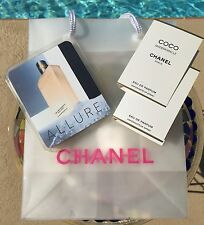 Clear w/Pink CHANEL Logo Small Shopping Bag w/Fragrence Samples