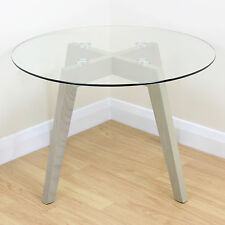 Limed Oak & Clear Glass Modern Round Side End Table Coffee/Lamp/Stand Solid Wood