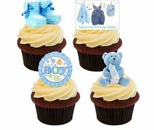 New Baby Boy, Blue Edible Cupcake Toppers, Standup Fairy Cake Bun Decorations