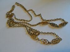 """Gold Tone Textured Chain Necklace With Filigree Segment Links, Unmarked, 50"""""""