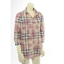100% Authentic Burberry Nova Check Heart Women's Shirt Blouse Top Size XS