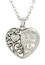 I Love You To The Moon And Back Heart Statement Necklace Locket Pendant Filagree