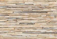WHITEWASHED WOOD WOODEN WALL Photo Wallpaper Wall Mural -  Made in Germany!