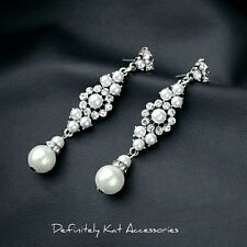 Stunning silver white pearl & crystal flower drop cocktail statement earrings