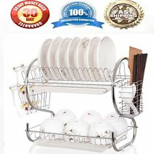Kitchen organization holder 2 Tier Stainless Steel Dish Drainer Drying Rack US Q