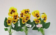 Pack of 3 Artificial Pansy Spray Yellow 43 cm - Spring Summer Fake Flower Stem