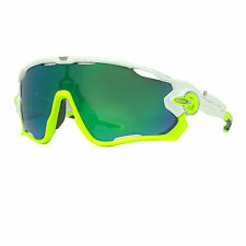 Oakley JawBreaker OO9290-03 White/Lime Green Iridum Sport Shield Sunglasses