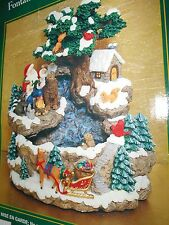 TRADITIONS Christmas Indoor Fountain Santa Reading To Animals Under Tree Sleigh