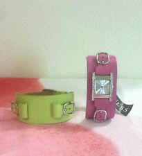 Guess Womens Watch With Interchangeable Cuff Leather Band Raspberry & Lime NWOB