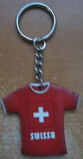 Switzerland Flag T-Shirt Keychain Suisse Red Cross Key Ring Rubber