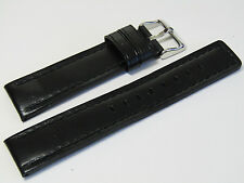 22mm Hadley-Roma MS784 Mens Black Oil-Tan Waterproof Leather Watch Band Strap