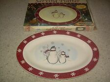 "Royal Seasons Stoneware SNOWMAN Oval 14"" Serving Platter NIB FREE SHIP"