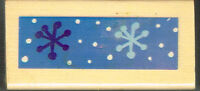 SNOWFLAKE  WOOD MOUNTED RUBBER STAMP APPROX 7cm x 3cm