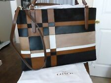 Coach Soft Borough Bag  - NWT 32361 - Haircalf/Leather/Browns/White - Large