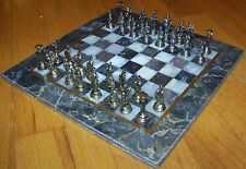 "Metal Ancient Roman Figure & 10""x10"" Gray & White Marble Board Chess Set"