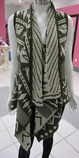 Sweater Vest Fits L XL 1X 2X Plus Green Aztec Cascading Open Front Soft Knit NWT