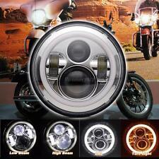 """7"""" Moto Rotondo Angel Eye Proiettore DAYMAKER Lampadina LED HEADLIGHT FR Harley"""