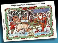 SCHÖNER ALTER ADVENTSKALENDER 1984   NIKOLAUS MIT SCHLITTEN   GOLF WERBUNG   3