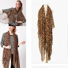 Hot Sexy Large Animal Leopard Print Chiffon Shawl Scarf Long Stole Wrap 160cm