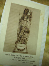 VINTAGE PRAYER CARD N.D. BONNE DELIVERANCE BLACK MADONNA (attached to album pg)
