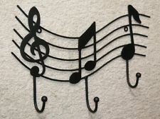 Black WROUGHT IRON Music Staff Wall Hook Hanger Notes Treble Coat Rack Decor Art