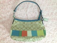 Coach Signature Bag Purse Multi Stripe Frame with Blue Patent Handle and Trim