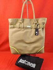 NWT JUST CAVALLI BEIGE SHOPPING HAND SHOULDER BAG TOTE $240