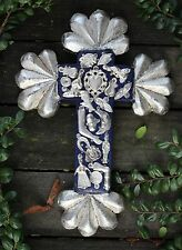Small Blue & Silver Carved Wooden Cross & Milagros, Mexican Folk Art Michoacán
