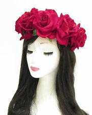 Large Red Rose Flower Sugar Skull Headband Halloween Day of the Dead Big 794