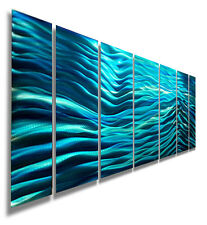 Modern Blue Metal Wall Art Sculpture Home Decor - Aqua Blue Wave II by Jon Allen