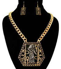 Gold & Burnished Silver Vintage PHARAOH Statement Necklace & Earrings Set