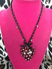 Betsey Johnson School Girl Red Checkered Plaid Lucite Heart Crystal Necklace
