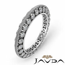 Round Diamond Womens Milgrain Eternity Wedding Ring Band 18k White Gold 0.59Ct
