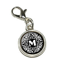 Letter M Initial Black and White Scrolls - Bracelet Charm with Lobster Clasp