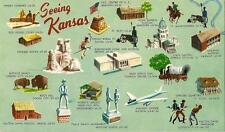 Postcard Seeing Kansas State Historic Sites Attractions Tourism 1950s Unused MNT