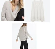 NEW ZARA V-NECK OVERSIZE GRAY/Beige CASHMERE SWEATER SIDE SLITS SIZE MEDIUM