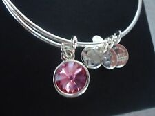 Alex and Ani OCTOBER ROSE TOURMALINE  Shiny Silver Charm Bangle NWT Card & Box