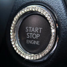 White Crystal Car Engine Start Stop Ignition Key Ring Car Interior Decor Bling