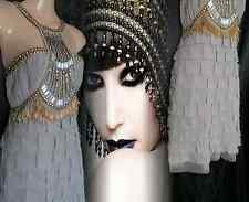 Flapper Dress Gatsby Vintage 20's Silk Chiffon Beaded Tassel 8 10 36 38 US 4 6