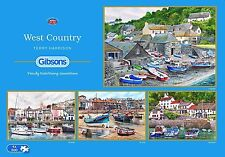 GIBSONS WEST COUNTRY BOATS + HARBOURS 4 x 500 PIECE JIGSAW PUZZLE SET - NEW GIFT