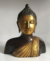 Antique Buddha Bust Large Budha Head Brass 6.5'' HEAVY Meditation handcarved