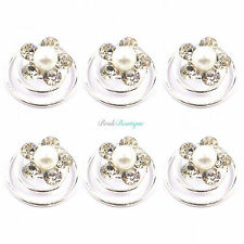 Bridal Wedding Silver Crystal & Pearl Flower Hair Coils Spirals Twists Pins HP16