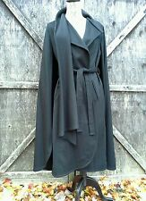 GEMINI 70's Miltary Cape Wrap Coat With Scarf Black Wool EXQUISITE Sm/Med RARE