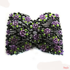 Chic Classic Stretch Rose Flower Bow Glass Bead Hair Head Comb Cuff Double Clips