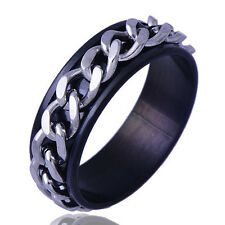 B1331 Exaggeration Men's Stainless Steel iron chain Band Ring Size 11#