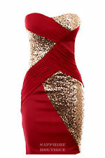 Women's Sequin Cross Contrast Boobetube Plain Back Bodycon Ladies Party Dress