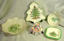 5 HOLIDAY THEMED DISHES, BOWLS, ASH TRAY * LENOX * SPODE* & HIBEL ORNAMENT
