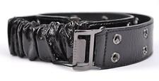 NEW BURBERRY WOMEN'S $325 BLACK PATENT LEATHER PRENTON STRETCH BELT~34 85