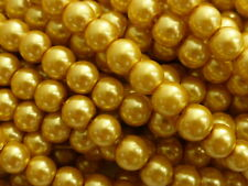 1 Strand (Approx.110 Beads) GOLD Glass Pearl Beads 8mm Imitation Faux Pearls